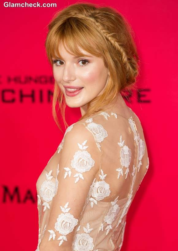 Bella Thorne At The Hunger Games In A Girly Bun And Braid - Bun hairstyle games