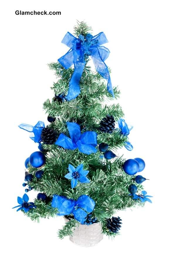 christmas tree decoration ideas - Small Blue Christmas Tree