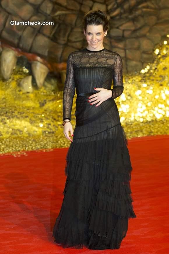 Evangeline Lilly in Alberta Ferretti Black Gown