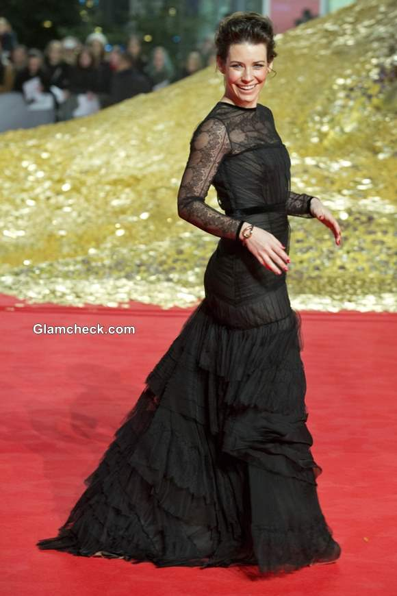 Evangeline Lilly in Alberta Ferretti Gown at The Hobbit The Desolation of Smaug German Premiere