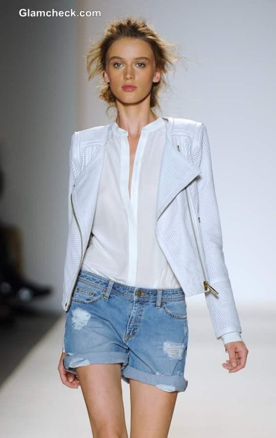 Frayed Denim with White on White Biker Jacket Rachel Zoe Spring 2014 Mercedes-Benz Fashion Week