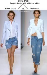 Frayed Denim with White on White Biker Jacket Vs. Waistcoat