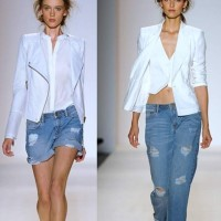 Frayed Denim with White on White Biker Jacket Vs Waistcoat