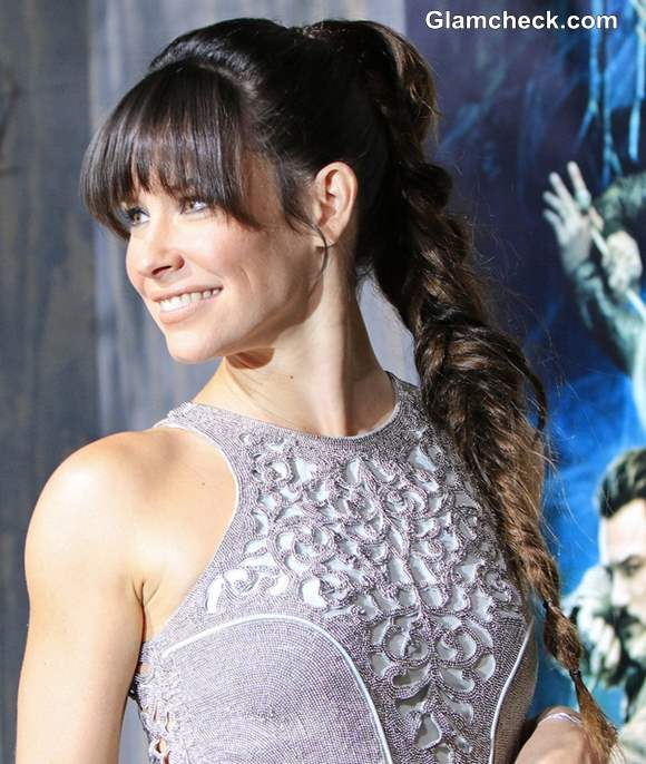 High Ponytail Braid with Bangs Evangeline Lilly