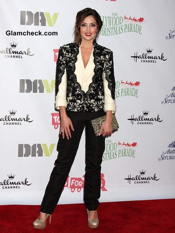Jen Lilly in a Monochrome Lace and Woolen Blazer
