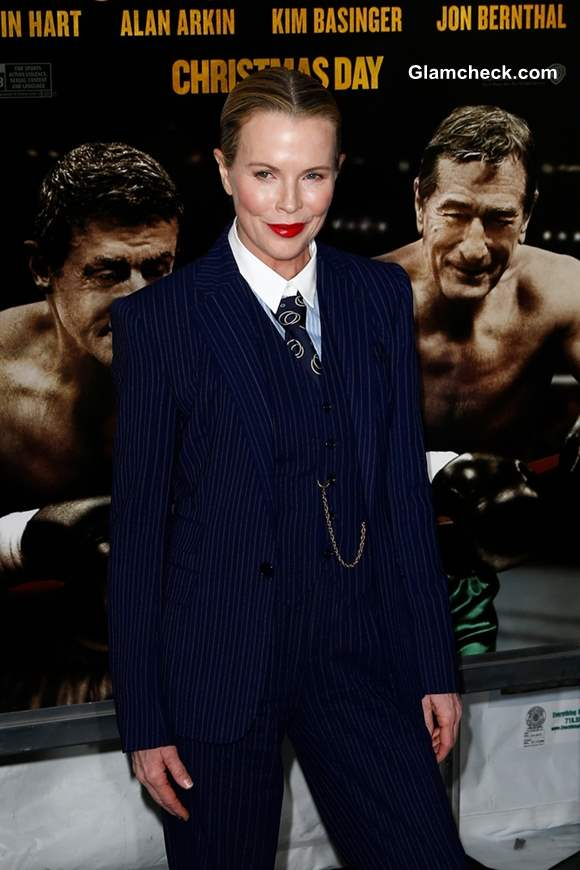 Kim Basinger in Tailored Androgynous Look at Grudge Match Premiere
