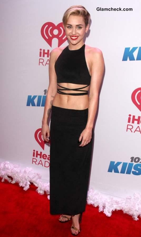 Miley Cyrus in a Sexy Black Strappy Crop Top