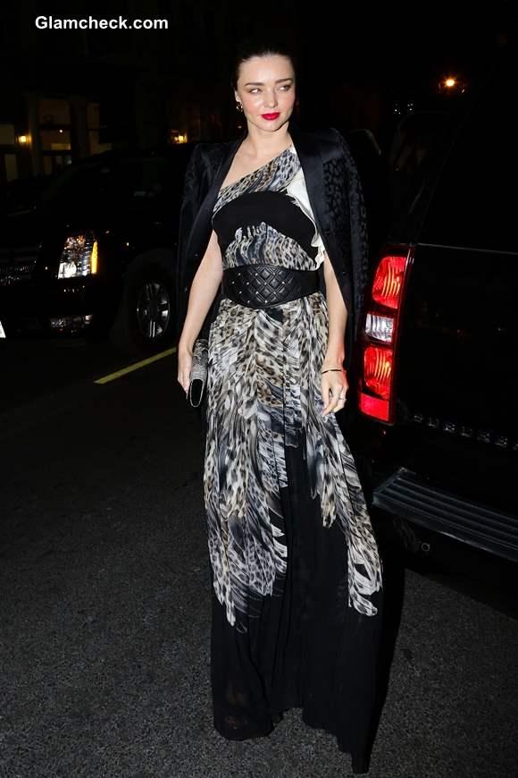 Miranda Kerr in Just Cavalli Animal Print Maxi Dress