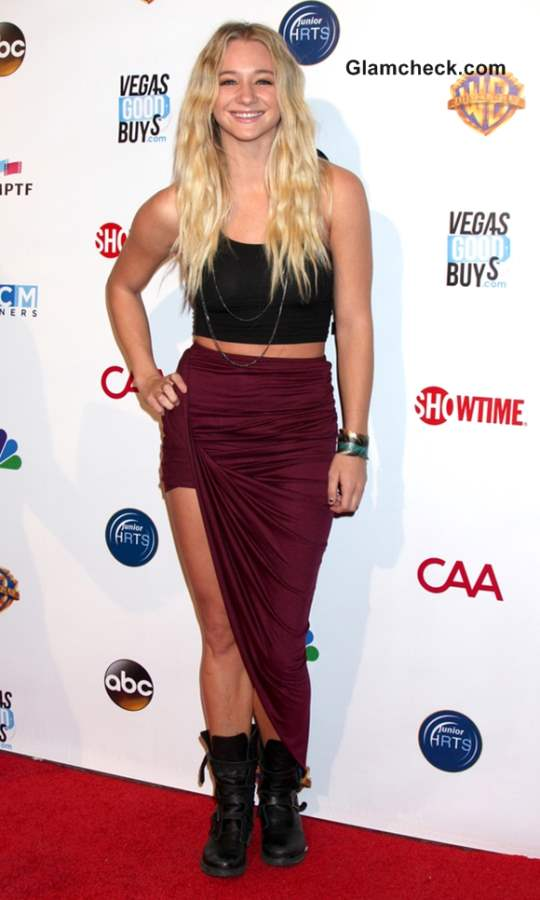 Mollee Gray in Crop Top with High-slit Skirt