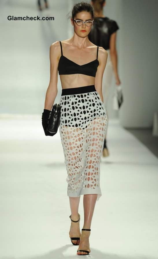 Monochrome Laser Cut Skirt Teamed with a Bralet by Michelle Smith