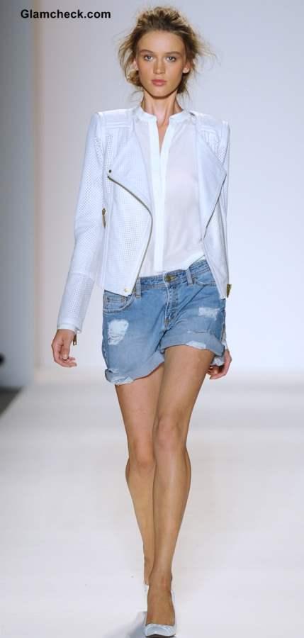 Rachel Zoe Spring 2014 Mercedes-Benz Fashion Week Frayed Denim with White on White Biker Jacket