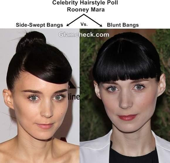 Rooney Mara Hairstyle - Side-Swept Bangs Blunt Bangs