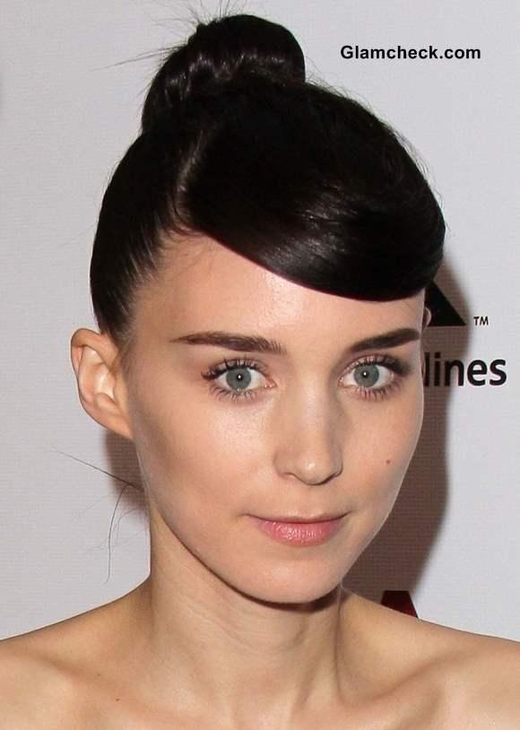 Rooney Mara Hairstyle Side-Swept Bangs
