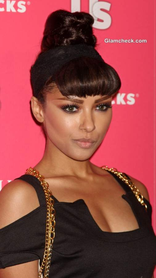 Top knot with Bangs Kat Graham