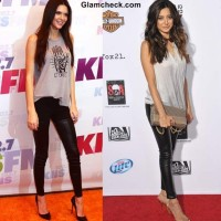 Wearing Black Leather Pants with Gray Top