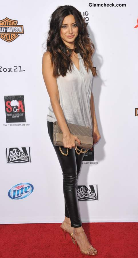 Wearing Black Leather Pants with Gray Top Noureen DeWulf
