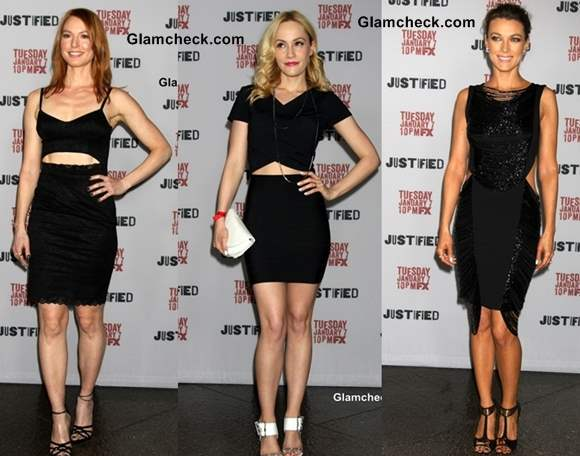 Black Waist-Cutout Outfits at the Justified Premiere Screening at Directors Guild of America