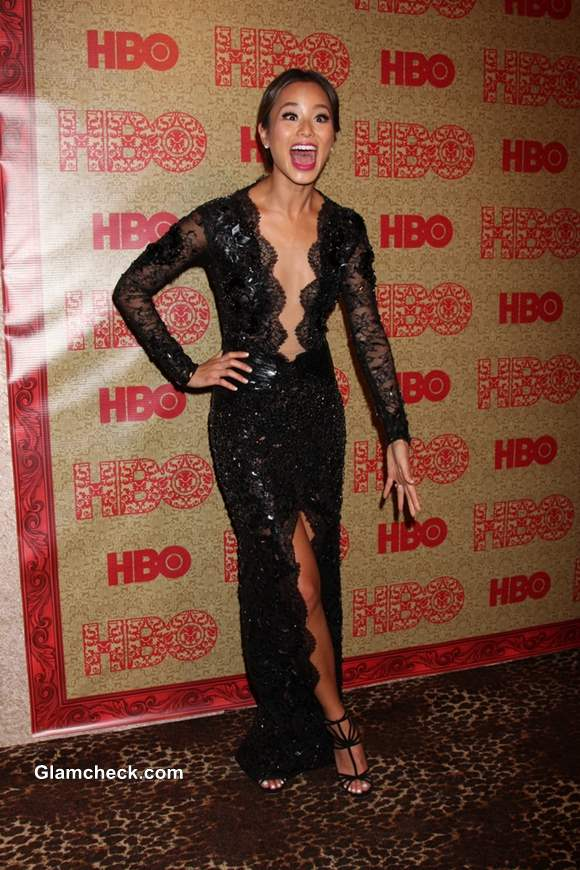 Jamie Chung in a Racy-Lacy Gown at the HBO 2014 Golden Globe Party at Beverly Hilton Hotel