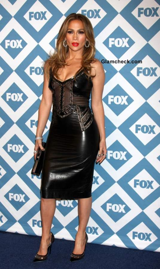 Jennifer Lopez in Sexy Black Leather Dress at the FOX TCA Winter 2014