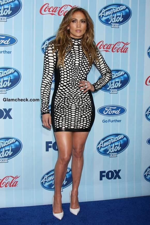 Jennifer Lopez in Tom Ford Mini Dress at American Idol Season 13
