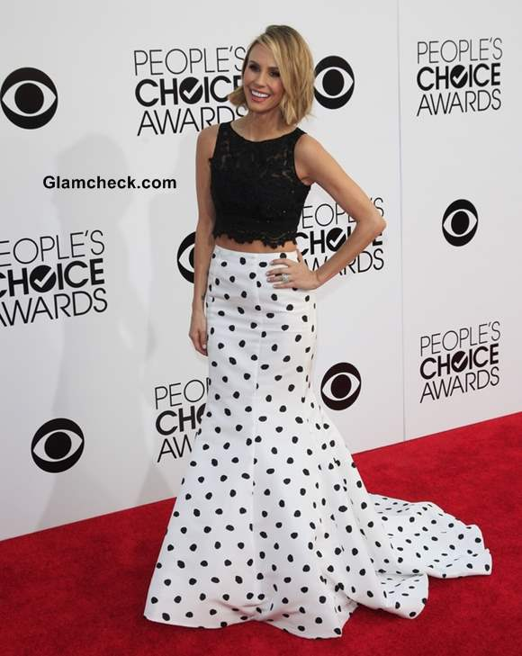 2ab0e20cc33c12 ... black lace crop top and fish cut long skirt. Keltie Knight at Peoples  Choice Awards 2014