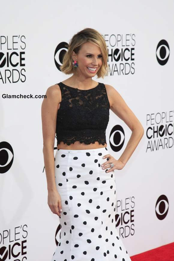 Keltie Knight in crop top and long skirt at Peoples Choice Awards 2014