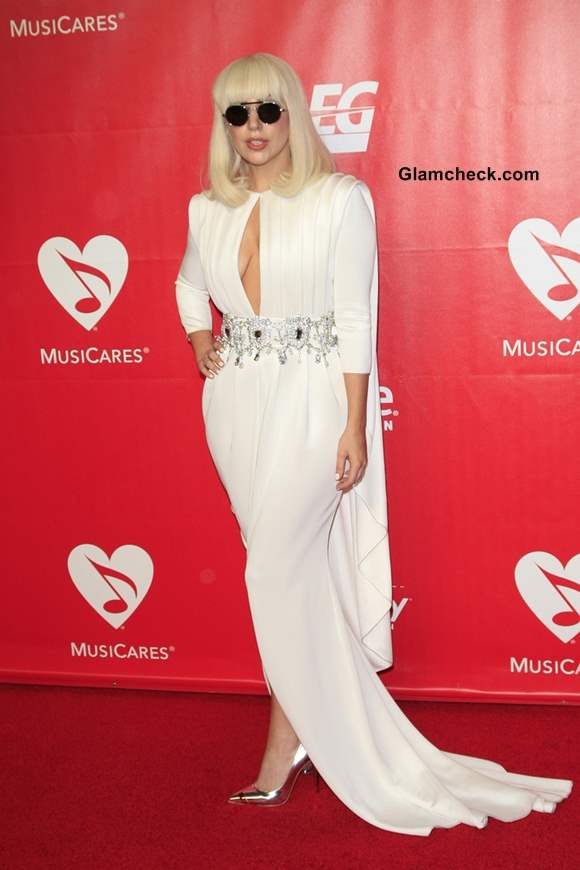 Lady Gaga in Alexis Mabille Evening Gown at 2014 MusiCares Person of The Year