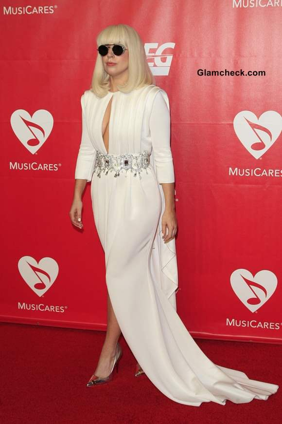 Lady Gaga in White Alexis Mabille Gown at 2014 MusiCares Person of The Year