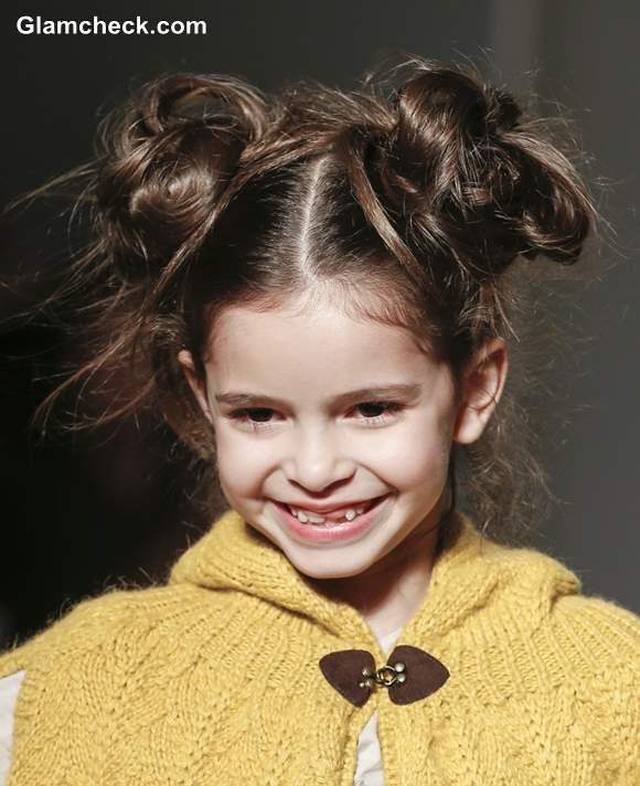 Messy Double Bun Hairstyle Little Girls
