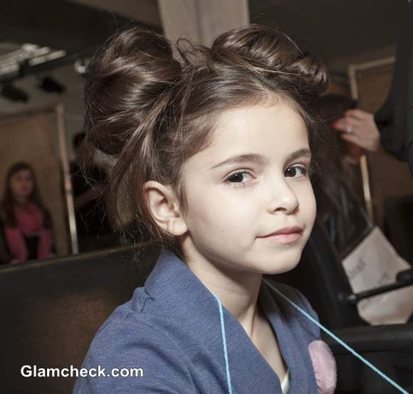 Messy Double Bun Hairstyle for Little Girls