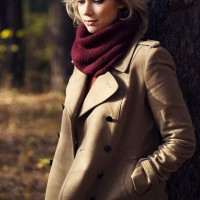 Neutral Double Breasted Coat for Women