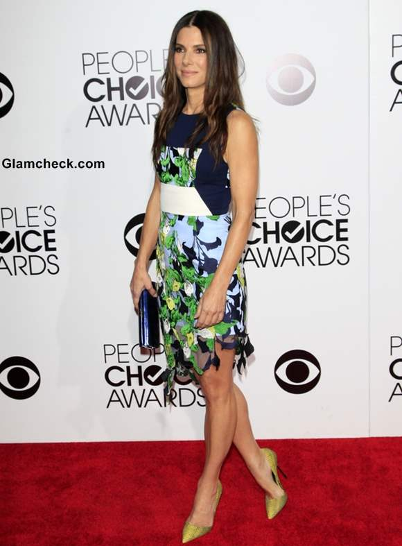 Sandra Bullock in A Spring Inspired Dress At the People's Choice Awards 2014