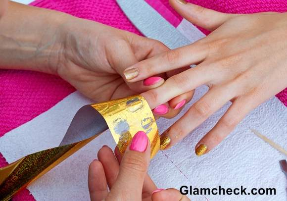 Shimmery Golden Nail Art DIY