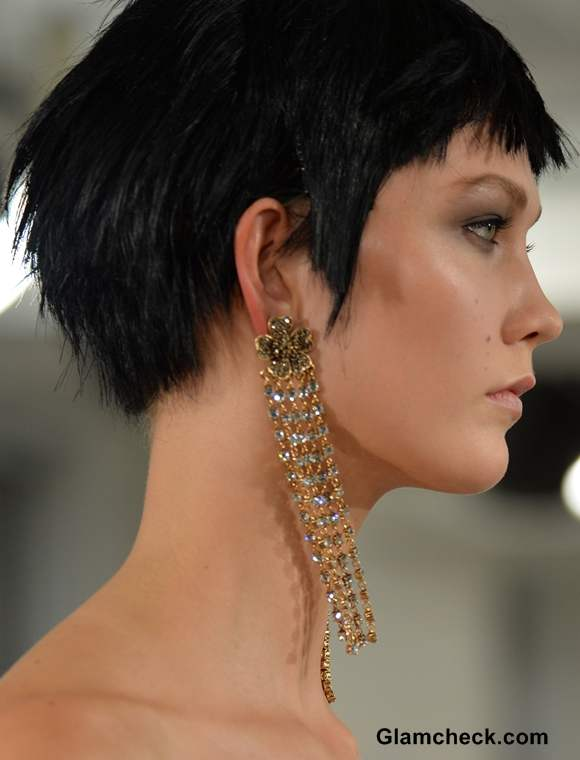 Curtain Style Earrings seen at Oscar De La Renta Show