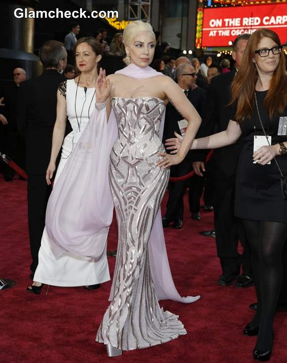 Lady Gaga in Versace Oscars 2014