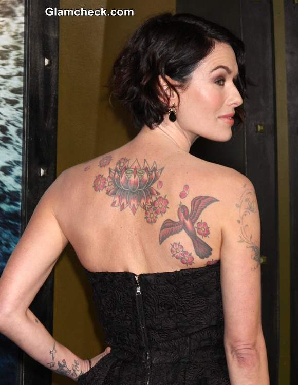 lena headey shows off back tattoo at 300 rise of an