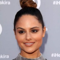 Pia Toscana Sports Top Knot and Nude Makeup