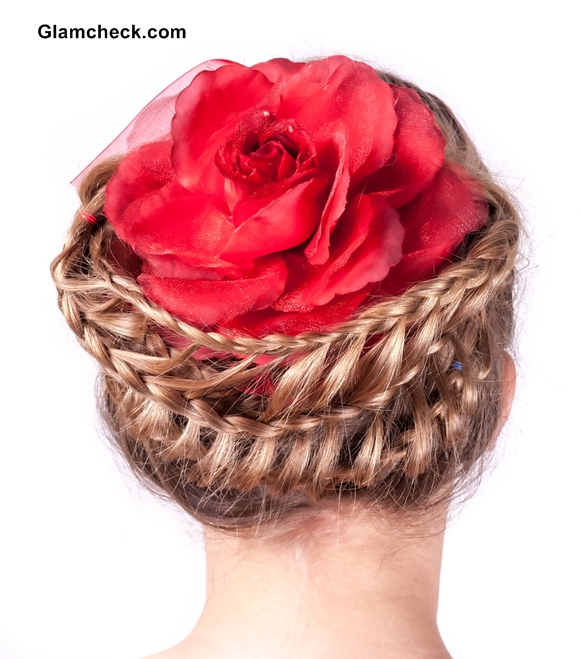 Fun Braided hairstyle with flowers