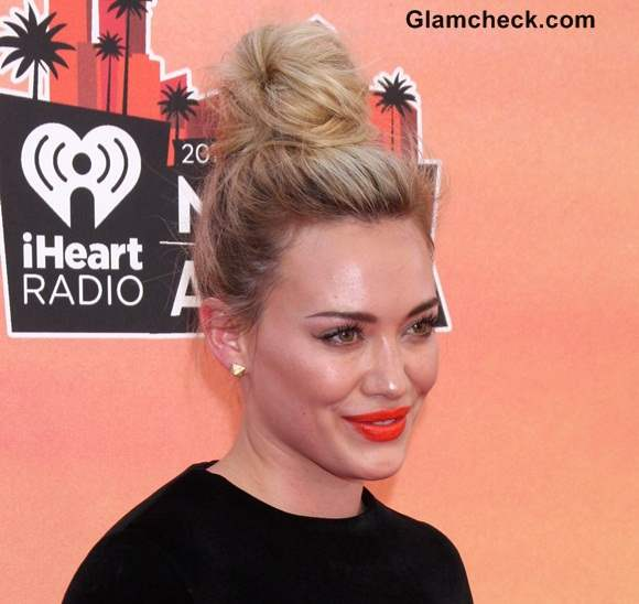 Hilary Duff Top Knot Hairstyle 2014