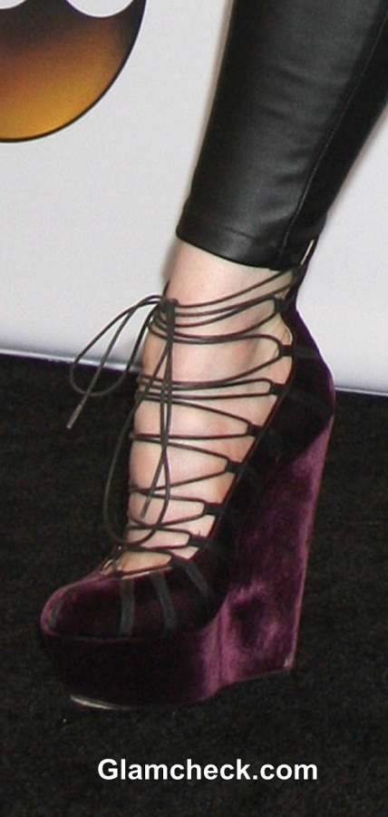 Lindsey Stirling in John Galliano Velvet Platform Heels