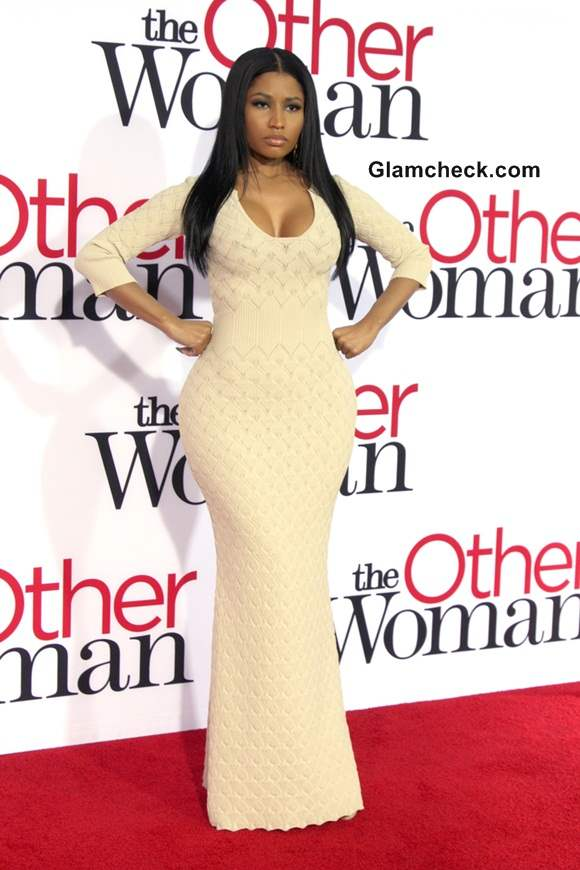 Nicki Minaj in Alexander McQueen Nude Gown at The Other Woman Premiere