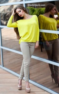 Yellow Top jumper style with Camel color Pencil Pants