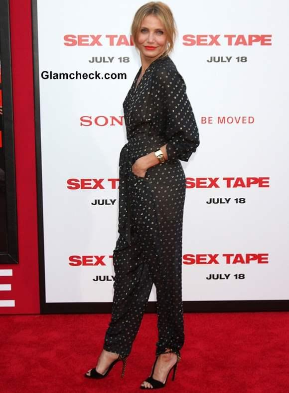 Cameron Diaz 2014 in Stella McCartney Jumpsuit at Sex Tape LA Premiere