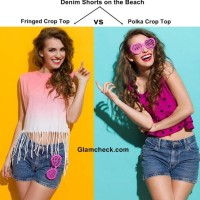Denim Shorts on the Beach - to go with a Fringed Crop Top or a Polka Crop Top