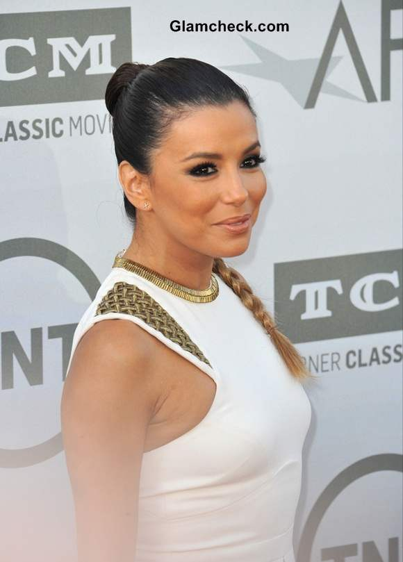 Eva Longoria Bun-braid Hairstyle