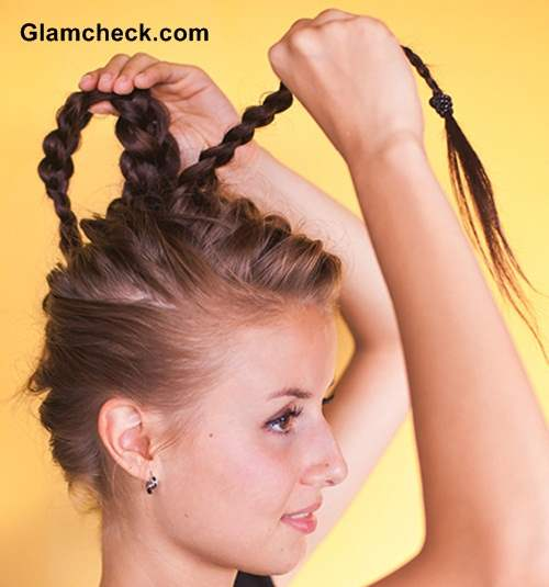 Hairstyle Front and Back French Braid Top knot