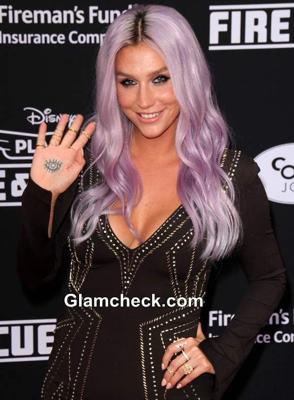 Kesha Hair color 2014 Lilac Purple