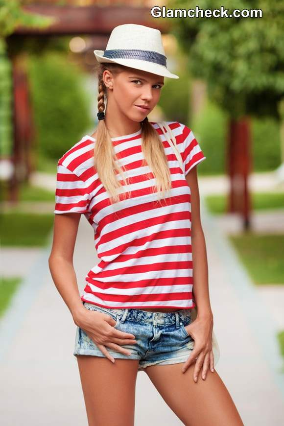 Breton stripe t-shirt in red and white worn with Denim Hot Pants