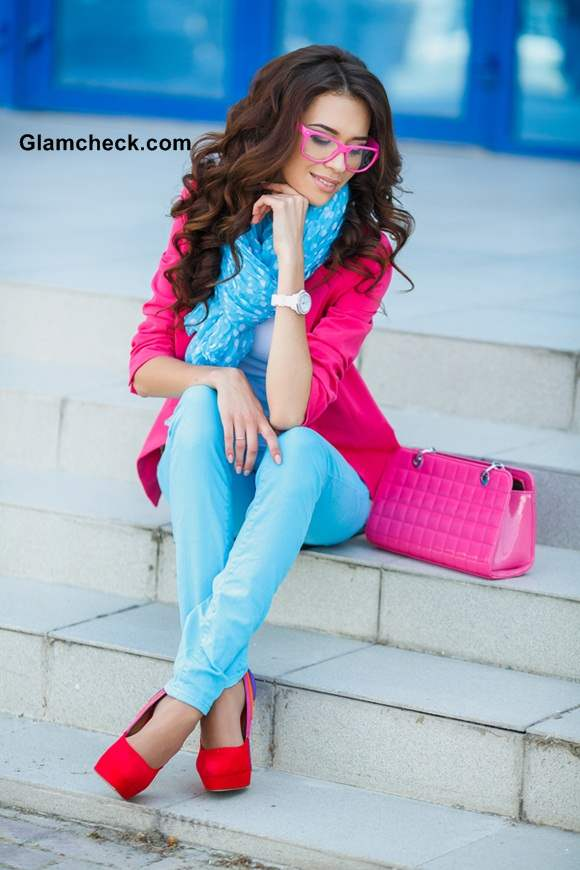Pink Jacket With Blue Pants Rock The Miss Cupcake Look