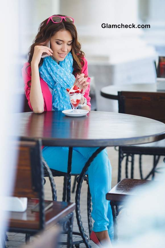 Miss Cupcake Look in an Icy Blue and Hot Pink Colour Combination